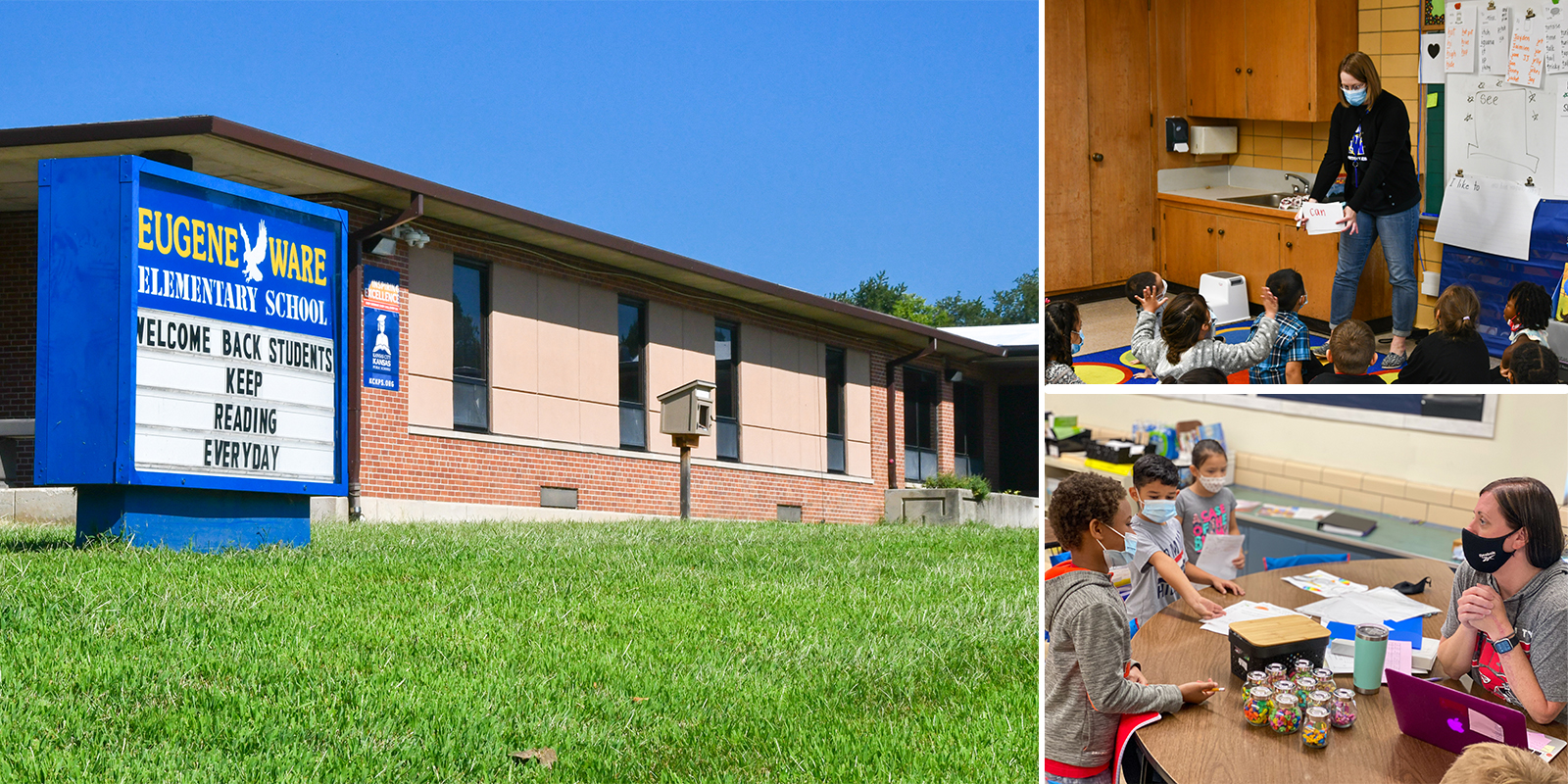 Collage of images of Eugene Ware Elementary School: Facade, students and teachers